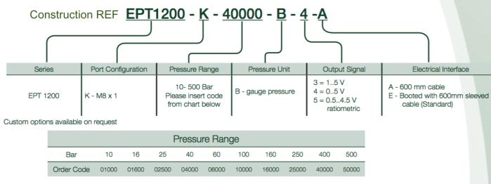 construction ref capteur de pression EPT1200