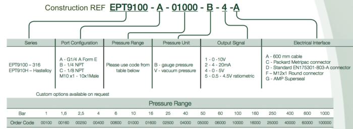 Construction Ref capteur de pression EPT9100