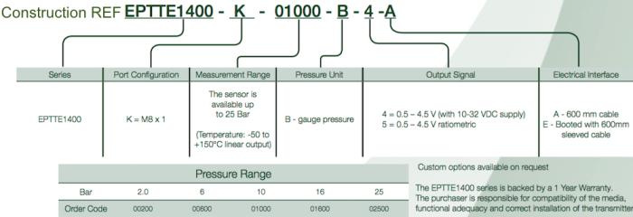 Construction REF capteur de pression et de temperature EPTTE1400 Variohm