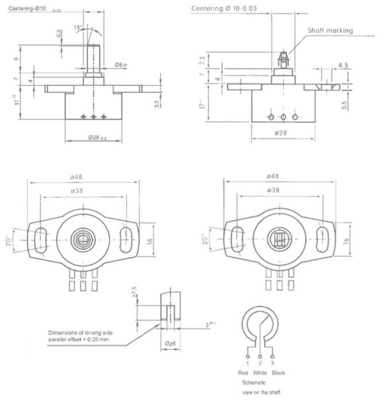dimensions capteur d angle variohm euro-sp2800