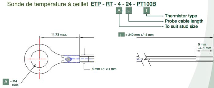 dimensions sonde de temperature a oeillet ETP-RT