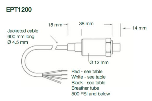 dimension capteur de pression Variohm EPT1200