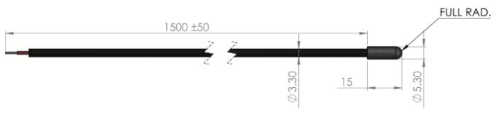 dimension capteur de temperature sonde etp-op variohm