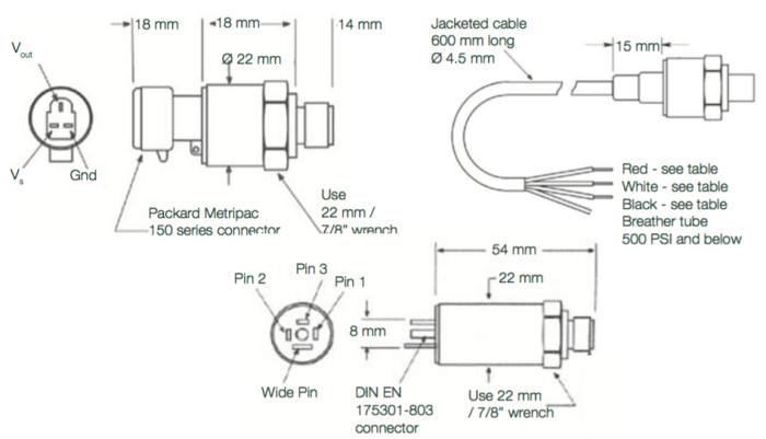 dimension du capteur de pression EPT3200