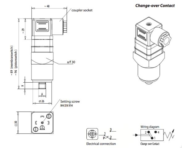 Dimension commutateur à pression Variohm EPS03