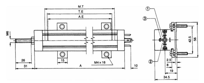 dimensions capteur de position lineaire KTC