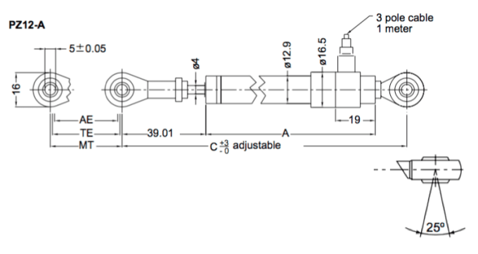 Dimensions capteur de position lineaire PZ12A