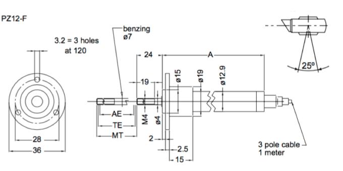 Dimensions capteur de position lineaire PZ12F