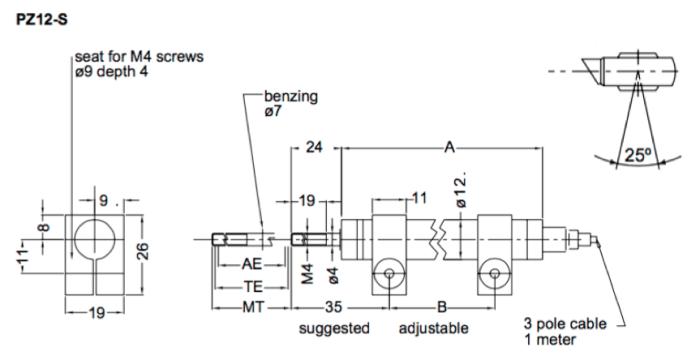 Dimensions capteur de position lineaire PZ12S