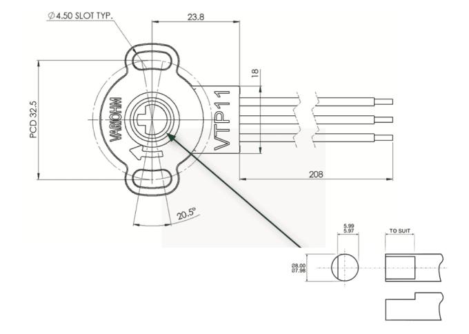 dimensions capteur de position rotatif vtp11