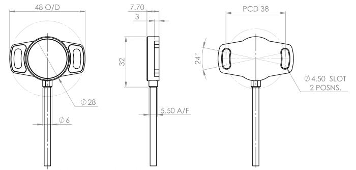 dimensions-capteur-xpk capteur de position rotatif Variohm