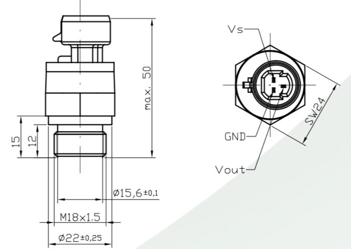 Dimensions cpateur de pression EPT2105