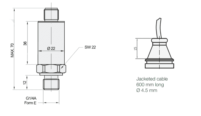 dimensions et connecteurs capteur temperature pression eptt5100