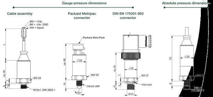 dimensions et connecteurs des capteurs de pression ept3100
