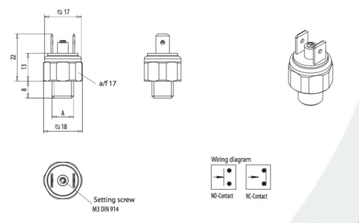 dimensions interrupteur de pression EPS01