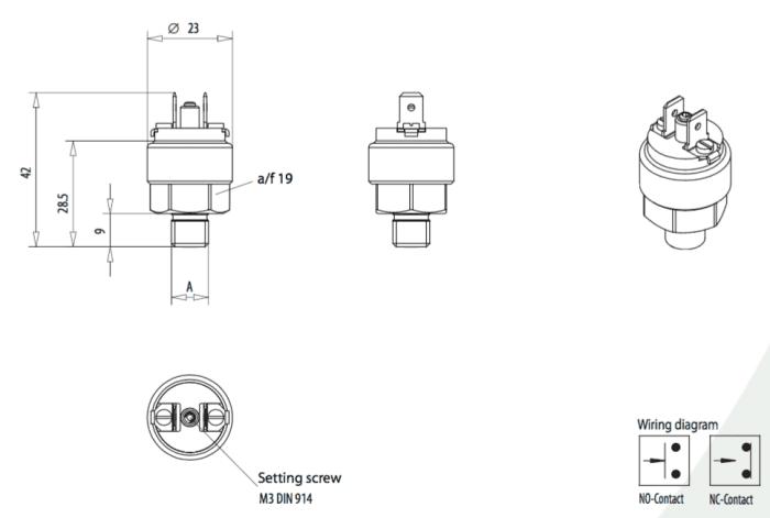 dimensions interrupteur de pression eps02