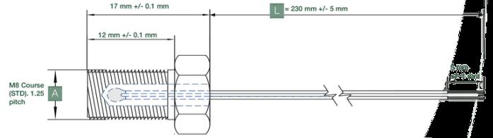 dimensions sonde de temperature a ecrou variohm ETP-SP