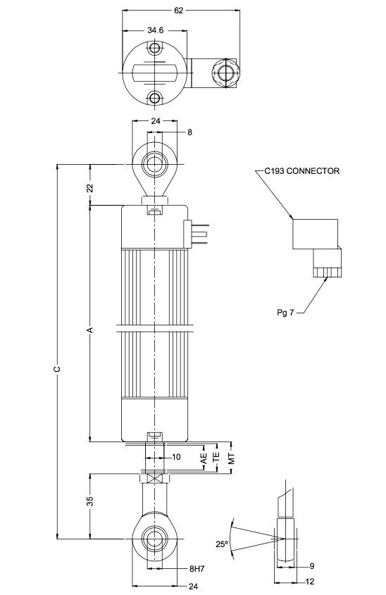 dimensions du capteur de position linéaire PCM